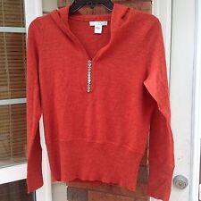 Sarah Spencer Women 100% Italian Merino Wool V-Neck Orange Sweater S Hoodie A111