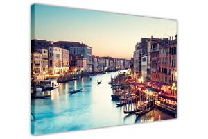 VENICE SUNSET LANDSCAPE PRINTS FRAMED CANVAS WALL ART PICTURES CITY POSTERS