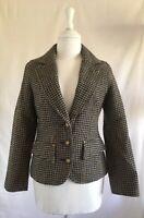 Anthropologie ESSENTIEL Antwerp Houndstooth Wool Blazer Size 34