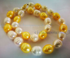 Natural 10-11mm White Yellow Tahitian Cultured Rice Pearl Necklace 18'' AAA
