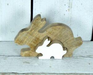 Large Wooden Rabbit Puzzle With 2 Segments Decorative Ornament
