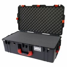 Black with Red Handles & latches Pelican 1615 Air case With Foam.  With wheels.