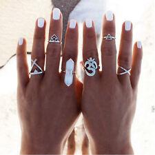Silver Boho Women Stack Plain Above Knuckle Ring Midi Finger Tip 6pcs Rings Set