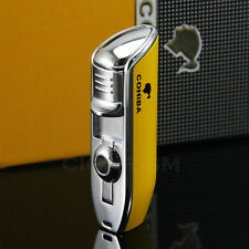 COHIBA YELLOW Metal 3 TORCH JET FLAME CIGAR Cigarette LIGHTER W/ PUNCH