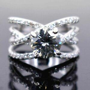 Brilliant 2ct Cut Off White Diamond Solitaire Cocktail Ring With White Diamonds