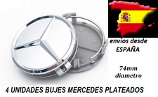 4x MERCEDES BENZ PLATA TAPA BUJE LLANTA 74 mm (envio desde España) TAPAS LLANTAS