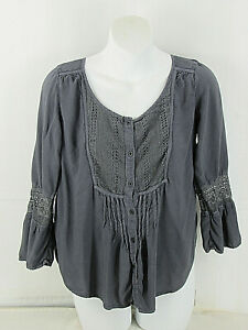 American Eagle Outfitters M [36in Bust 23L ]  Blouse Bell Slvs Gray Women's Boho