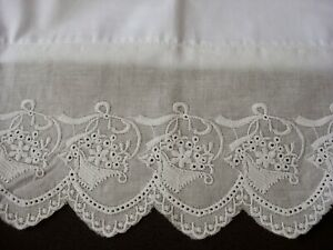 New White Embroidered Lace Pillowcases (2) Pillowsham Cotton Sateen Standard M1#