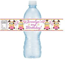 12 Girl Minion Despicable Me Birthday Party Baby Shower Water Bottle Label Pink