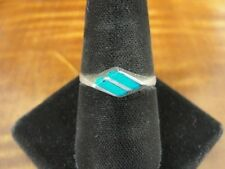 Turquoise Inlay Stones Band Sterling Silver 925 Ring Size 8 1/2