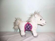BATTAT White Horse Pink Plaid Saddle Removable Stuffed Animal Plush