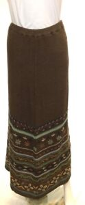 Double D Ranch Long Knitted Linen Embroidered Lined Brown Maxi Long Skirt XL