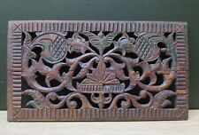 Nice Antique wood carved panel with a ornamental flower decor Dutch ca 1700