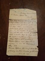 RARE ANTIQUE! Old family Genealogy 1874 Cool History Letter