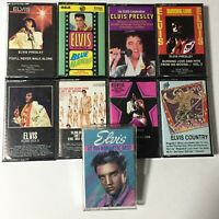 Elvis Presley Vintage Cassette Tapes Lot Of 9 Mixed Rock Country Gospel