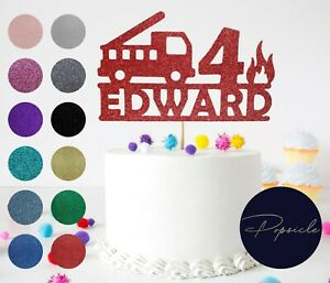 Birthday Personalised Fire Engine Fire Truck Glitter Cake Topper