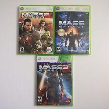 Mass Effect 1 2 3 Trilogy (Microsoft Xbox 360, 2012) w/ Cases Set Lot