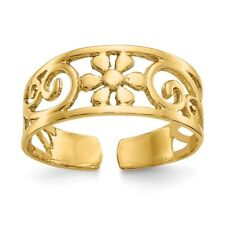 14K Yellow Gold Solid & Polished Floral Toe Ring 1.15 - 1.25 Gms