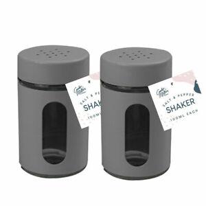 Salt And Pepper Set Shaker Pots set of 2 Dining Jars Dispensers Cap Lid UK