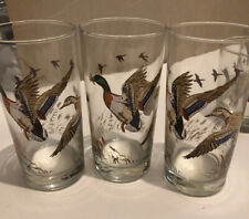 3 Vintage Libbey Mallard Duck Old Fashioned Highball Glasses Vgc Barware