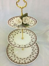 Cake Stand 3 Tier French Style, Spode Plate, Fleur de lis, Rustic Wedding
