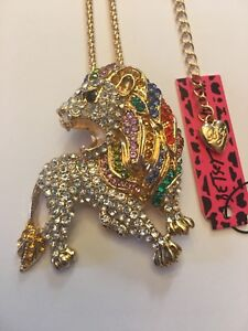 MULTI-COLOR  & CLEAR Crystal Charm Sweater LION  Necklace-BJ19049