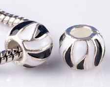 2pcs Painted double stripe big hole Beads Fit European Charm Bracelet DIY #D814