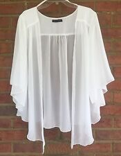 Womens OFF WHITE /Eggshell  Plus Size 6X Chiffon Cardigan Bolero Shrug Top