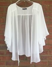 Womens Eggshell WHITE Plus Size 5X Chiffon Cardigan Bolero Top WearOrGoBare