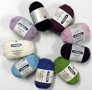 Patons Bluebell Merino 5 Ply Australian Wool Crepe Wool 50g Ball Choose Colours