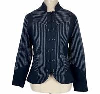 Geoff Bade Womens Black/White Striped Zipper Front Jacket Size 10
