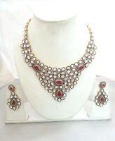 Antique 925 Silver Polki & Diamond Ruby Gems Handmade Anniversary Gift Necklace