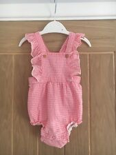 H&M Baby Girls Pink And White Checked Romper Suit 2-4 Months