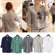 Women 3/4 Sleeve Standing Collar Shirt Blouse Linen Ventilated Sweat T-shirt
