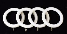 Pack of 4 Antique White Wood Wooden Curtain Rings for 35mm dia Pole. NEW