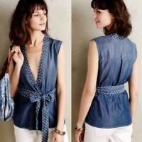 HOLDING HORSES ANTHROPOLOGIE Chambray Denim Wrap Tie Blouse Top Size Small S