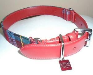 NEW COACH RED SMOOTH LEATHER PLAID PRINT SQUARE CHARM DOG PET COLLAR LARGE 8496