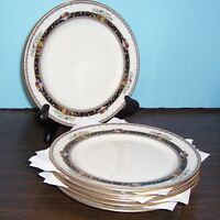 "6 LENOX CORONADO DESSERT PLATES 7 3/8"" RAISED ENAMEL FRUIT & FLOWERS BLACK MARK"