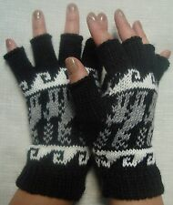 NEW, 100% ALPACA WOOL FINGERLESS GLOVES, BLACK COLOR, S SIZE, ANDEAN, SOFT a