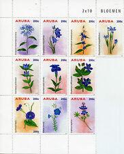Aruba 2015 MNH Blue Flowers 10v Block Set Flora Bloemen Stamps