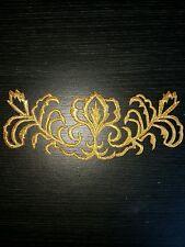 gold metallic embroidery patch lace applique motif irish dance costume