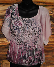 """""""APT 9"""" WOMEN'S BATWING SLEEVE TOP PINK FLORAL ELASTIC WAIST SIZE LARGE"""