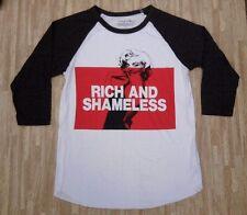 Marilyn Monroe Rich & Shameless Raglan Shirt ~ Men's Medium M ~ White Gray