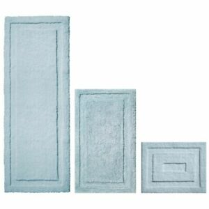 mDesign Microfiber Polyester Bathroom Spa Mat Rugs/Runner, Set of 3 - Water Blue