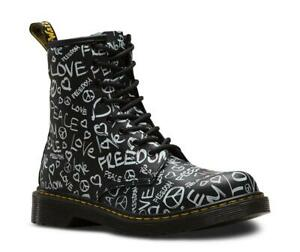 Dr Martens 1460Y Script Peace Love Freedom BLACK Leather with Laces & Zip