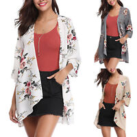 Women Floral Kimono Cardigan Ladies Bikini Cover Up Summer Top Short Coat Jacket