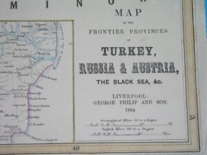 1854 RARE ORIGINAL MAP POLAND UKRAINE RUSSIA HUNGARY ROMANIA BULGARIA GEORGIA