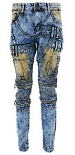 New Mens Frayed Iced Wash SlimStretch Distressed Ripped Denim Jeans Trousers