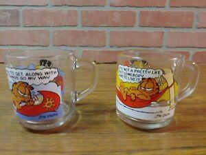 Garfield Odie Clear Glass Coffee Mug Cups-Promo McDonald's Jim Davis 1978