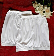 2 New Girls 8-10 Years White Soft Cotton Shorts School Knicker Vintage Pettipant